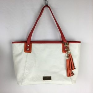 INC White Tote Bag  Red & Orange  Pebbled Leather